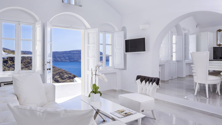 Living Room - Canaves Oia Villa, Santorini