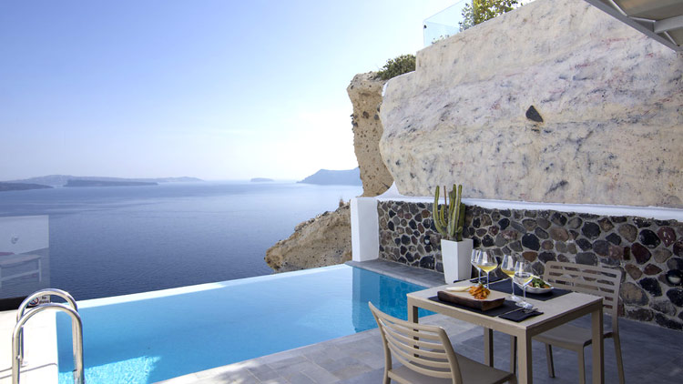 Lunch Poolside at the Infinity Suite of Santorini Secret Suites & Spa