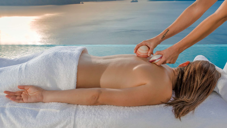 Relaxing Massage with a View of Santorini at Harmonia Spa in Santorini Secret Suites & Spa