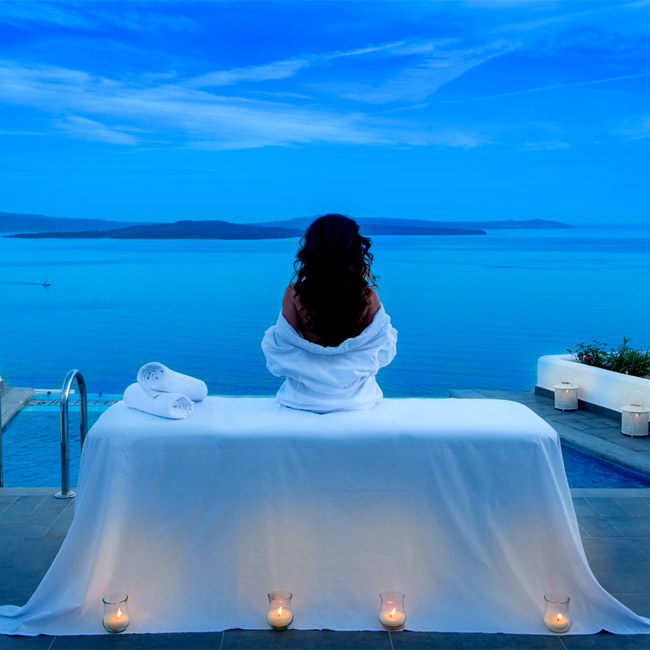 Woman Relaxing at Santorini Secret Spa - Travelive Blog