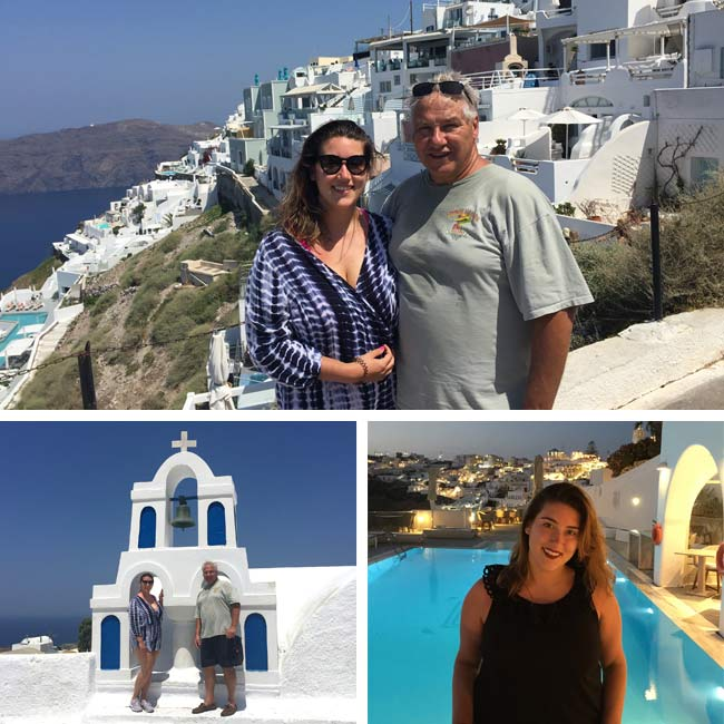 John & Sarah in Santorini, Greece - Travelive Reviews