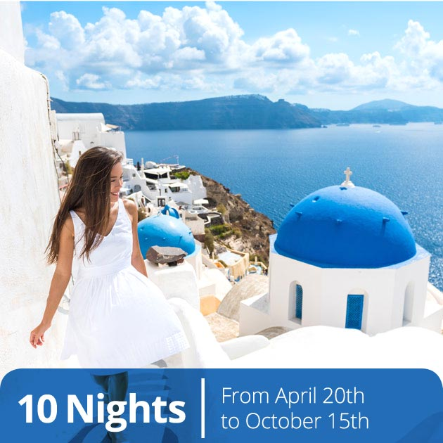 Young Woman in Santorini - Aegean Elegance Package with Travelive, Luxury Vacation Packages
