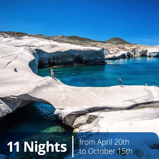 Sarakiniko Beach – Milos, Cycladic Treasures Vacation Packages, Travelive