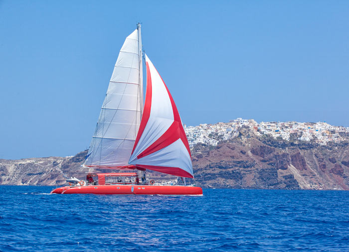 Catamaran – Santorini Island, Athens Crete Santorini tour package by Travelive