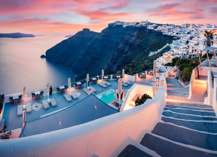 Santorini – Evening View, Santorini Honeymoon Packages with Travelive, luxury travel agency