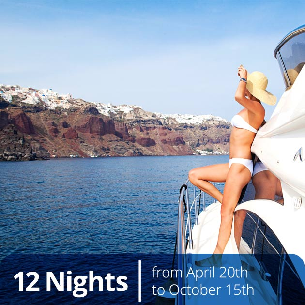 Woman Relaxing on Private Yacht  – Aegean, Santorini, Greek Dream and Private Yacht, Vacation Bundles, Travelive