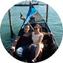 Couple on Gondola in Venice – Italian classics package, luxury travel to Italy