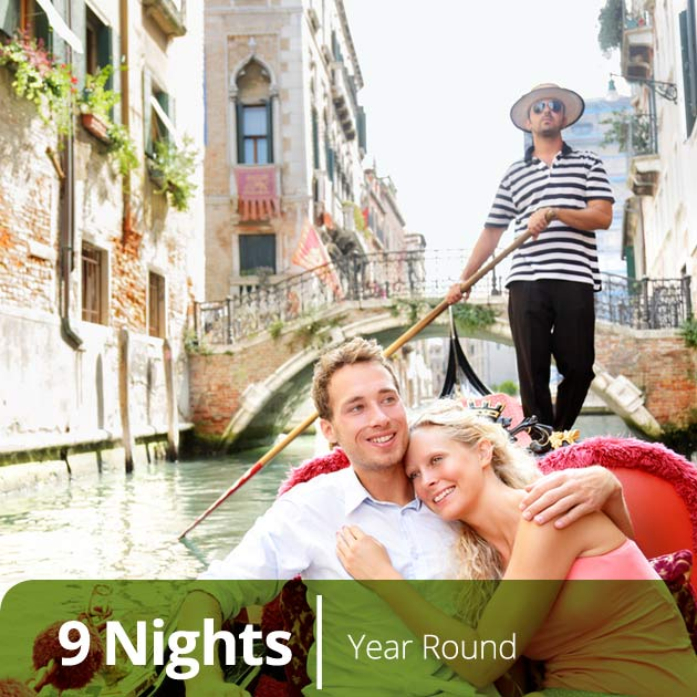 Couple on a Gondola Ride in Venice -  Italian Classics, Luxury Honeymoon Packages to Italy, Travelive