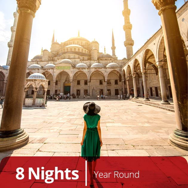 Young Woman Exploring the Blue Mosque in Istanbul, Ottoman Classics Vacation Getaways, Travelive